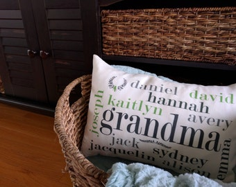 Grandparent, Grandma, Grandpa and grand children kids pillow