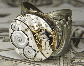 Men's or Women's Steampunk Ring Jewelry - Torch SOLDERED - Vintage 1919 LADY ELGIN Watch Movement w/ Diagonal Pin Stripes - Bold Design