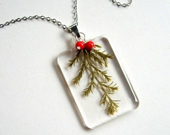 Ellwood Cypress and Red Berries - Real Winter Greenery Necklace - botanic jewelry, real cypress, coral, Winter necklace, holiday, eco, ooak