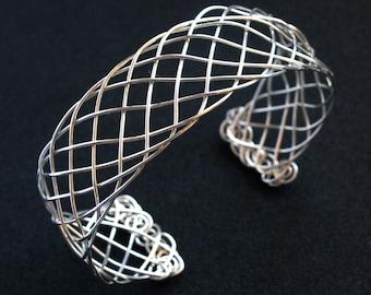 Celtic Braid Bracelet - Sterling Silver Cuff Bracelet - Wire Wrapped Viking Weave