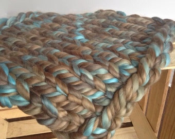 Chunky Knit Layering Blanket, Wool Blanket,Photography Prop,Thick Knit Layer, Mini Blanket, Basket Stuffer, Bump Blanket,Wool bump blanket
