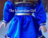 Two of a kind Edwardian style blue dress, Titanic, Victorian, Fits 18 inch play dolls such as American Girl, Springfield, OG. Made in USA