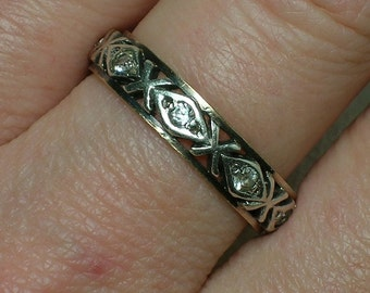 Antique Ring: English Silver & 9ct Eternity Wedding, Anniversary Band, Art Deco era