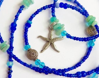 Waistbeads, Success-Drawing Amazonite Starfish Waist Beads, Belly Beads, Belly Chain