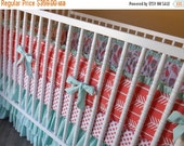 SALE--VALENTINES SALE---- Made to Order--Girl Crib Bedding- 3 piece Baby Bedding Set- Feathers Arrows Coral Mint