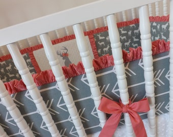 Girl Crib Bedding- Deer Baby Bedding- MADE TO ORDER- Girl Crib Bedding- Coral and Gray Baby Bedding- Deer and Arrow Bedding