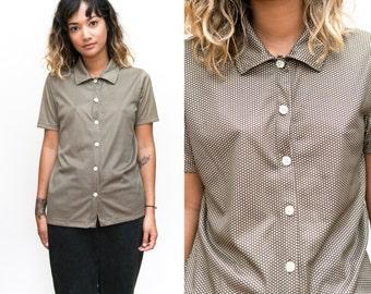 90s Diamond Blouse / Calvin Klein Mod Collared Shirt / Diamond Print Button Up / Hippie Disco Short Sleeve Button Down / Brown Cream Medium