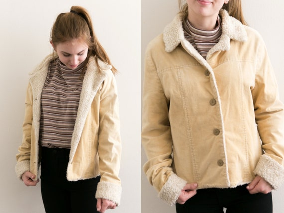 Corduroy Beige Shearling Jacket / Faux Sherpa Wool Lined Coat