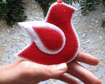 FELT DOVE ornament - handcrafted from 100% wool felt - Valentine's decor