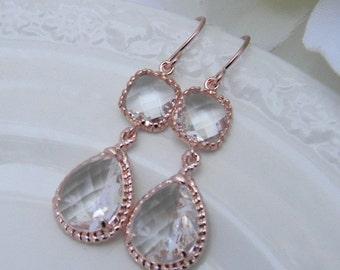 rose gold earrings rose gold bridesmaid earrings rose gold dangle earrings bridesmaid gift