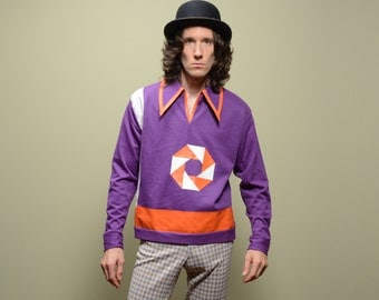 mens vintage knit shirt 60s 70s Campus Fabriano leather trim pinwheel purple orange white pimp rockabilly disco funky L large