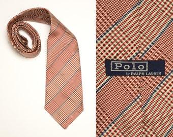 """vintage 80s 90s Polo Ralph Lauren tie vintage men necktie houndstooth plaid pattern preppy trad silk handmade 4"""" wide"""