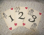 Alice in Wonderland Table Numbers - ephemera, vintage style, shabby chic style, red queen, heart, white rabbit, mad hatter, cheshire cat