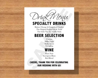 Wedding Drink Menu Sign for Wedding Reception or Engagement Party Printable Wedding Drink Menu, Drink Menu for your Special Event