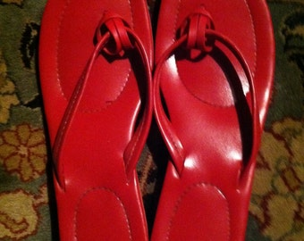 Vintage mid century 1969 red sandals  womens size 9-9.5