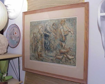 """Original Mid-Century Modern Abstract Framed Lithograph Olimpia Igilvie """"Street Players"""" Musicians 1960's"""