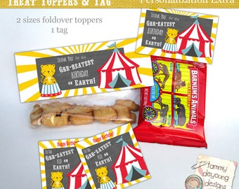 Circus Birthday Party Treat Bag Toppers &  Tags * Carnival Birthday Party for kids * DIY Printable party favors * personalization extra,
