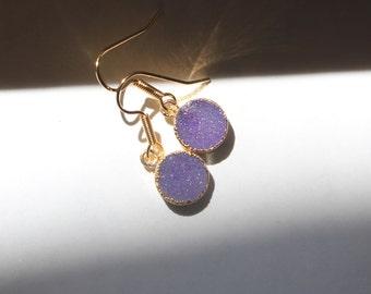 Round Natural Purple Druzy earrings, dangle earrings, Natural stone earrings, small earrings, purple earrings, Druzy earrings