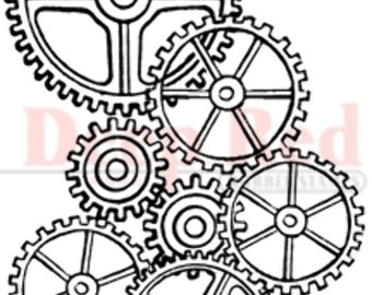 Deep Red Cling Rubber Stamp Rubber Stamp Gears Background