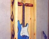Guitar Display Box Rustic Inlayed Wood Flames