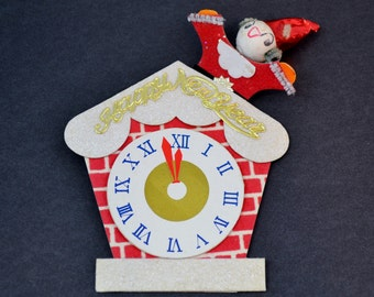 One Vintage Happy New Year Paper Clock Decoration Party Favor Gift Tags Tie Ons Ornament Craft Supply Santa Elf Red Gold White Japan 1950's