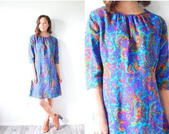20% OFF HALLOWEEN SALE Vintage 1960's blue paisley mod dress // hippie long sleeve dress // bohemian tribal dress // 70's floral dress // wh
