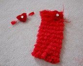 Valentine's Day Red Heart Romper Set headband included