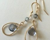 Reserved. Gold-filled blue mystic quartz earrings - wirewrapped earrings