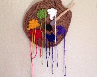 Crocheted Paint Palette Wall Art / Crocheted Art / Crocheted Wall Hanging