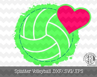 Splatter Volleyball INSTANT DOWNLOAD in dxf/svg/eps for use with programs such as Silhouette Studio and Cricut Design Space