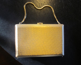vtg brushed gold box purse. rhinestone clasp, gold chain, evening bag, by volupte'