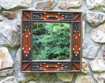 Adirondack Twig Mirror in Burnt Sienna Crackle Finish
