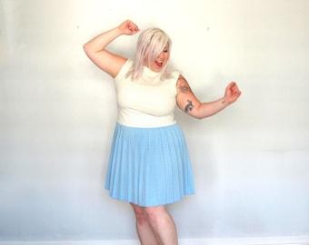 Winter Cheer- polka dot -plus size -dress -cream- blue- xxl-