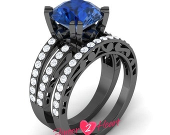 2.40 Ct Round Blue Sapphire Engagement Ring Set 925 Sterling Silver Wedding Ring with Band Set 10K Black Gold Finish Anniversary Ring Set