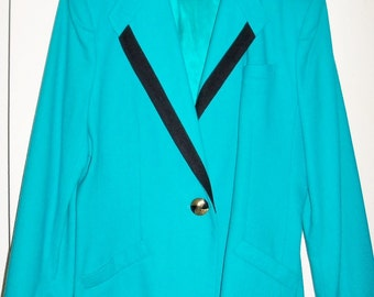 Oleg Cassini Vintage Dressy Blazer Jacket Size 16 Teal Blue Gift Guide Women Fall Winter Wool Blend