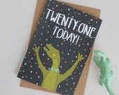 Dinosaur Birthday Card, Age 21 Birthday Card, 21st Birthday Card, Dinosaur Greetings Card, Cards for Dinosaur Lover