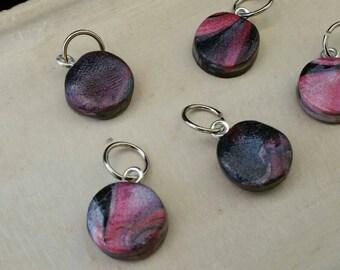 Pink swirls stitch markers set of 5