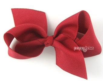 "Rich Red Hair Bow, dark red hair bow, 3.5"" Loopy Hair Bow, cranberry hair bow, girls hair bows, girls bows, boutique hair clip for girls"