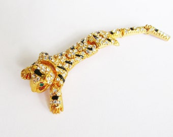 Rhinestone Leopard Cat Reticulated Shoulder Brooch Vintage
