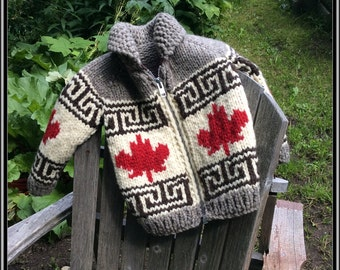 In Stock and Ready to Ship! Child's Size 4 Oh Canada Maple Leaf Cowichan Style Wool Sweater. Celebrate Canada's 150th!
