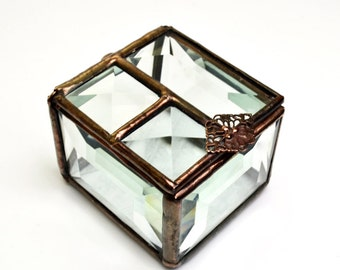 Beveled Glass Box Hinged Lid Treasure Box
