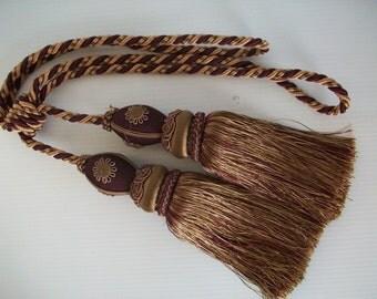 2 vintage tassels | vintage royal burgundy and gold tassels | vintage drapery tassels | tie back tassels | burgundy tassels curtain tassels