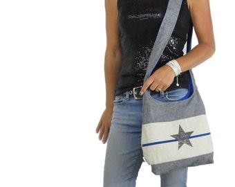 Thin blue line purse hobo bag. original print star with thin blue line. Choose medium or large purse and shoulder or cross body strap.