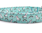 Unicorn Dog Collar - Rainbow Dog Collar - Girly Dog Collar - Unicorns and Rainbows - Unicorn Dog Leash (sold separately)