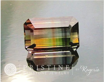 Bicolor Watermelon Tourmaline Emerald Cut Fine Gemstone for Pendant 19.22cts October Birthstone
