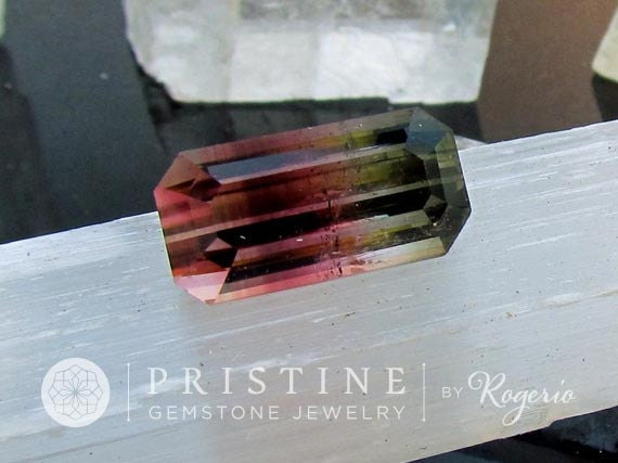 Bicolor Watermelon Tourmaline Emerald Cut Rare Large Fine Quality Loose Gemstone Over 10 Cts October Birthstone for Fine Jewelry Pendant