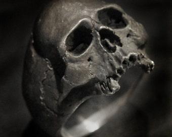 Skull Ring,Half Jaw, Mens Silver Skull Ring, Jack Sparrow,Biker ring, Rocker ring, Goth ring,.925