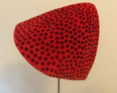 SALE Vintage 1940s Elfen Cone Bucket Hat. Red and Black. Polkdots. Made in Italy