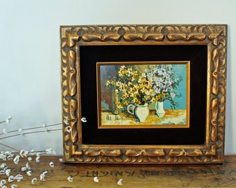 Vintage Syroco floral still life painting by Pat Davis - velvet mat - gold and black carved frame - mid century framed painting