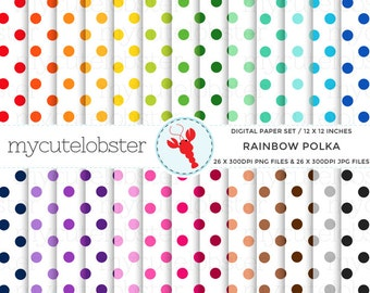 Rainbow Polka on White Digital Paper Set - polka dot paper, rainbow polka dot, spot - personal use, small commercial use, instant download